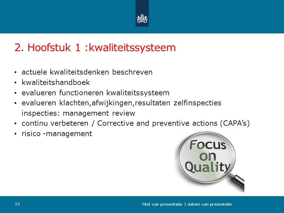 2. Hoofstuk 1 :kwaliteitssysteem actuele kwaliteitsdenken beschreven kwaliteitshandboek evalueren functioneren kwaliteitssysteem evalueren klachten,af