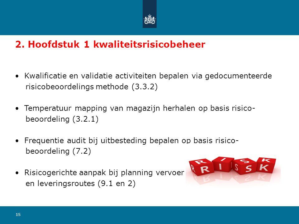 15 2. Hoofdstuk 1 kwaliteitsrisicobeheer Kwalificatie en validatie activiteiten bepalen via gedocumenteerde risicobeoordelings methode (3.3.2) Tempera