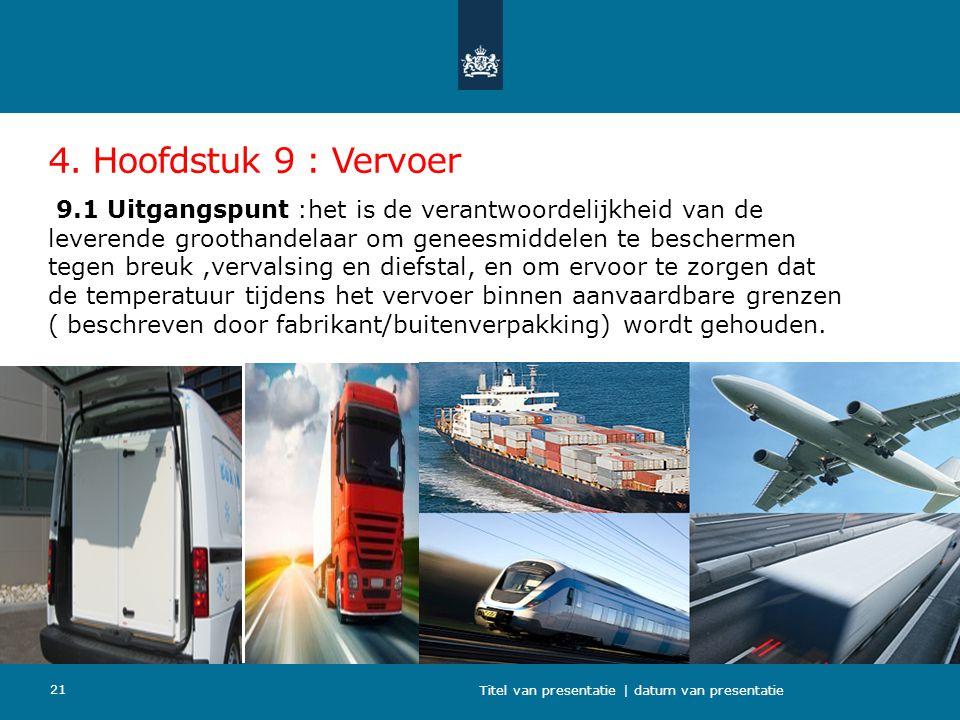 4. Hoofdstuk 9 : Vervoer 9.1 Uitgangspunt :het is de verantwoordelijkheid van de leverende groothandelaar om geneesmiddelen te beschermen tegen breuk,