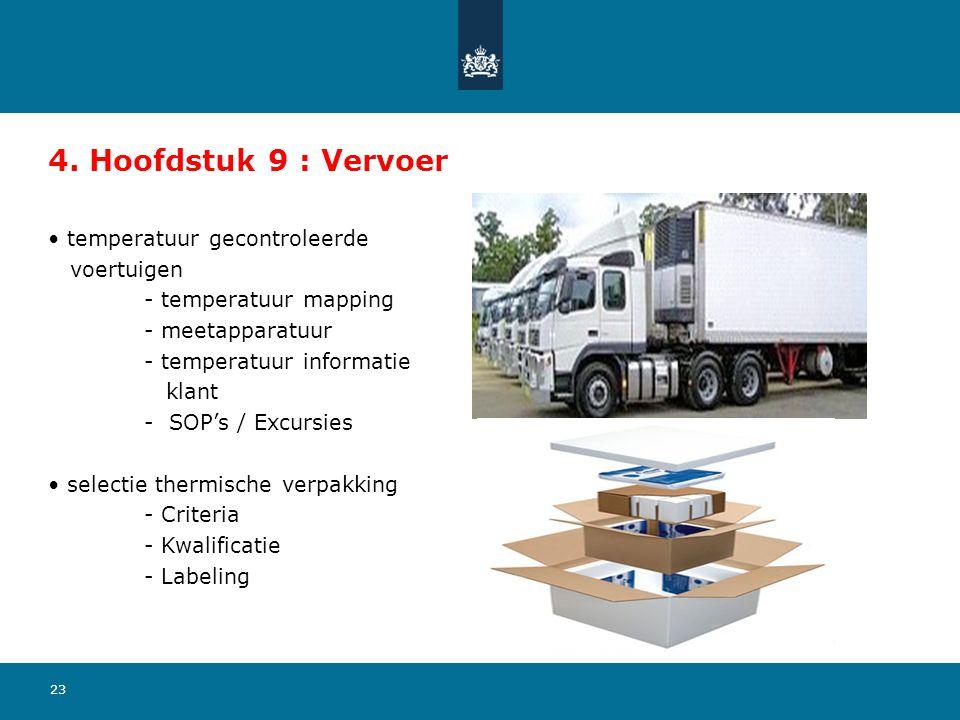 23 4. Hoofdstuk 9 : Vervoer temperatuur gecontroleerde voertuigen - temperatuur mapping - meetapparatuur - temperatuur informatie klant - SOP's / Excu