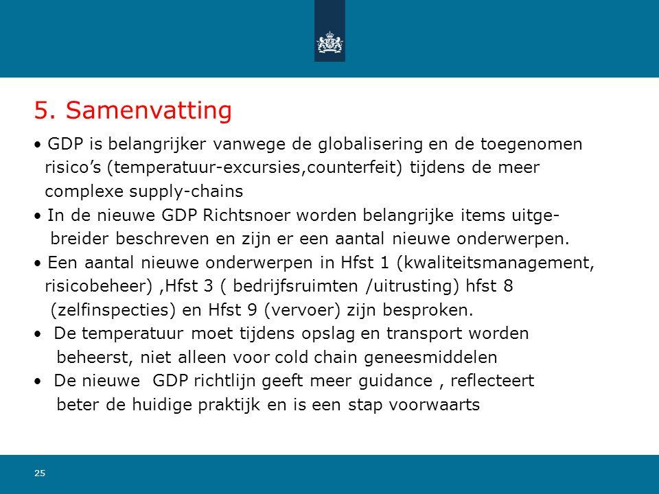 25 5. Samenvatting GDP is belangrijker vanwege de globalisering en de toegenomen risico's (temperatuur-excursies,counterfeit) tijdens de meer complexe