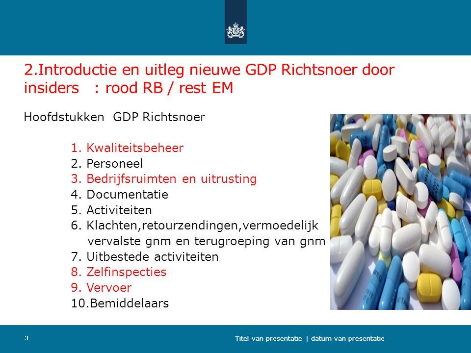 2.Introductie en uitleg nieuwe GDP Richtsnoer door insiders : rood RB / rest EM Hoofdstukken GDP Richtsnoer 1. Kwaliteitsbeheer 2. Personeel 3. Bedrij