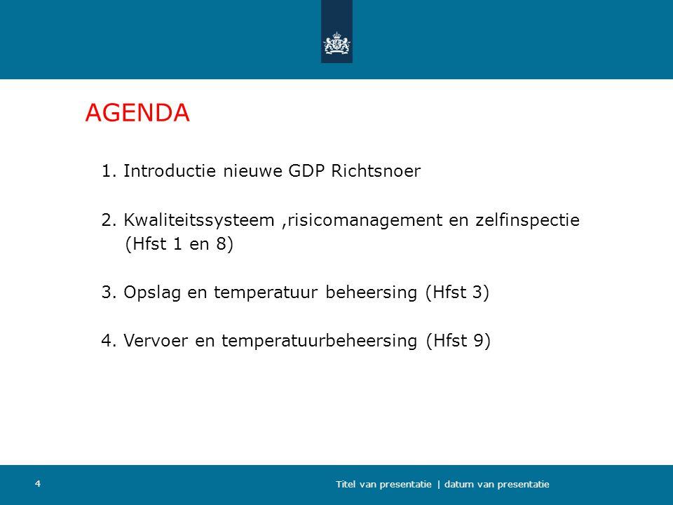 4 AGENDA 1. Introductie nieuwe GDP Richtsnoer 2. Kwaliteitssysteem,risicomanagement en zelfinspectie (Hfst 1 en 8) 3. Opslag en temperatuur beheersing