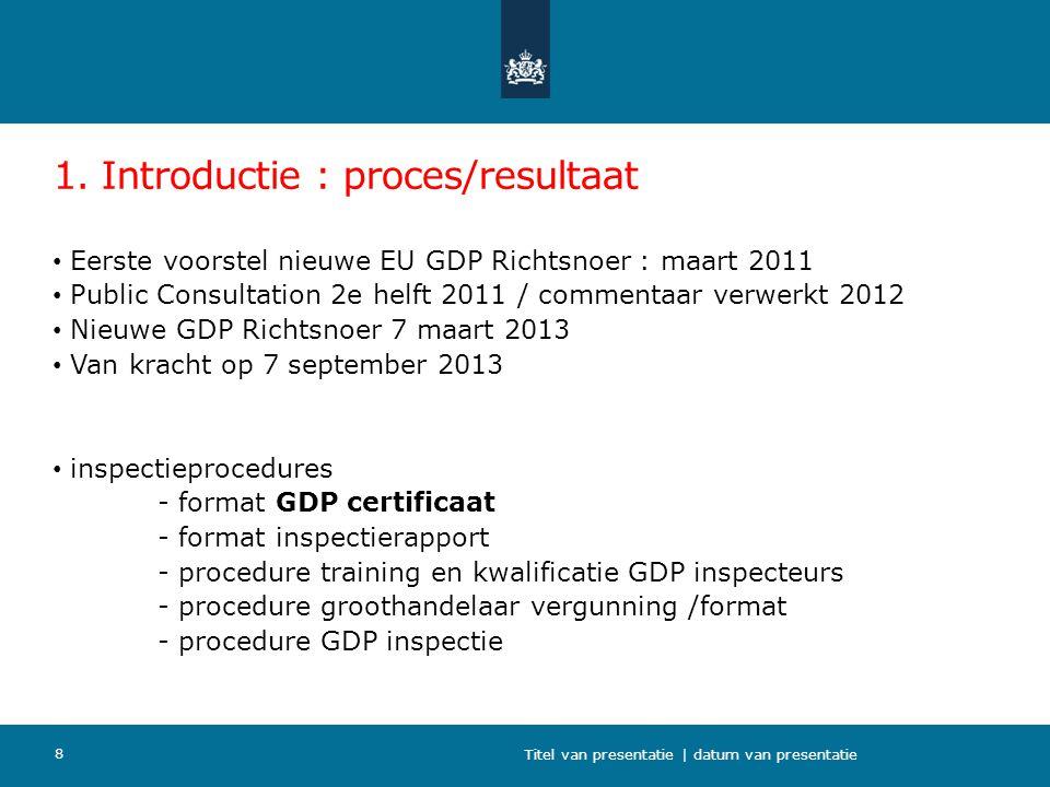 1. Introductie : proces/resultaat Eerste voorstel nieuwe EU GDP Richtsnoer : maart 2011 Public Consultation 2e helft 2011 / commentaar verwerkt 2012 N