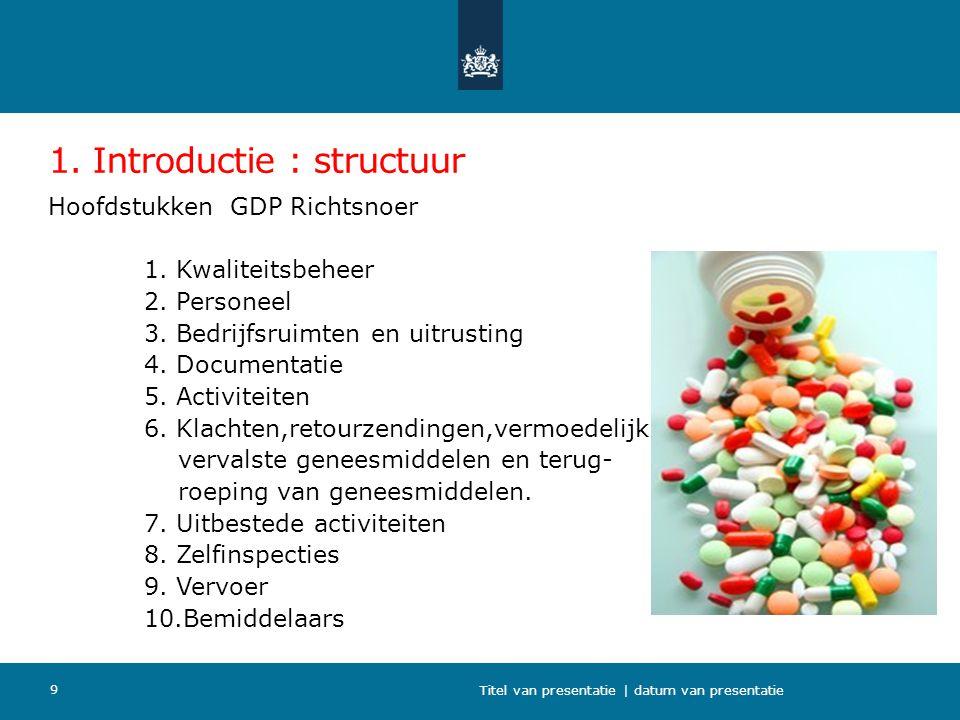 1. Introductie : structuur Hoofdstukken GDP Richtsnoer 1. Kwaliteitsbeheer 2. Personeel 3. Bedrijfsruimten en uitrusting 4. Documentatie 5. Activiteit
