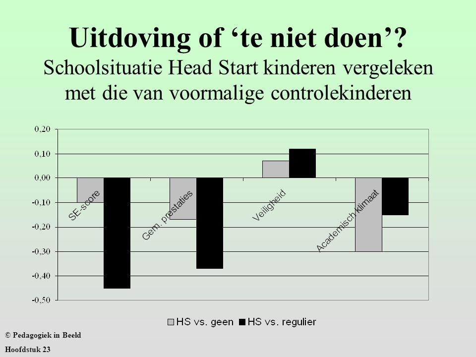 Uitdoving of 'te niet doen'? Schoolsituatie Head Start kinderen vergeleken met die van voormalige controlekinderen © Pedagogiek in Beeld Hoofdstuk 23