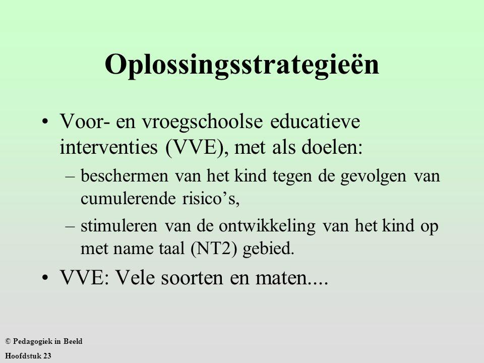 Oplossingsstrategieën Voor- en vroegschoolse educatieve interventies (VVE), met als doelen: –beschermen van het kind tegen de gevolgen van cumulerende