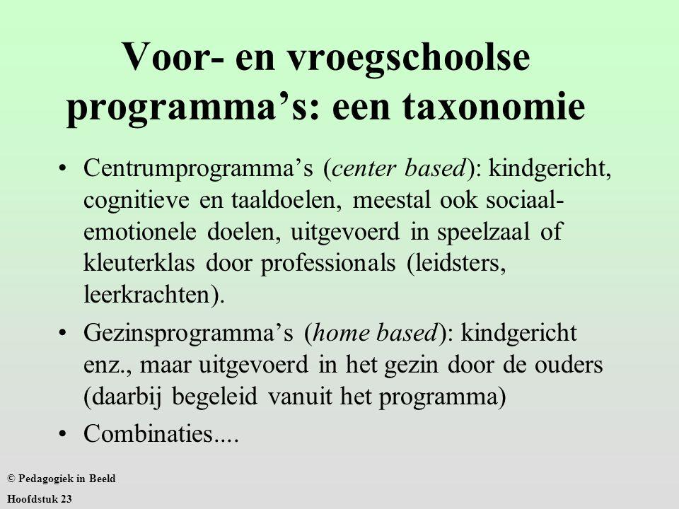 Voor- en vroegschoolse programma's: een taxonomie Centrumprogramma's (center based): kindgericht, cognitieve en taaldoelen, meestal ook sociaal- emotionele doelen, uitgevoerd in speelzaal of kleuterklas door professionals (leidsters, leerkrachten).
