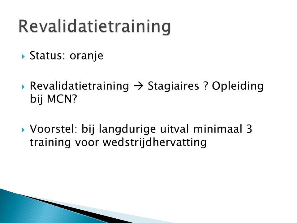  Status: oranje  Revalidatietraining  Stagiaires .