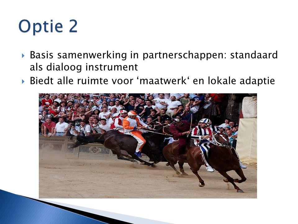  Basis samenwerking in partnerschappen: standaard als dialoog instrument  Biedt alle ruimte voor 'maatwerk' en lokale adaptie