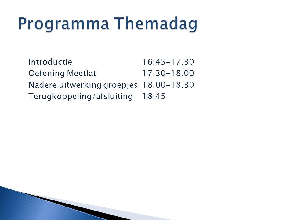 Introductie 16.45-17.30 Oefening Meetlat 17.30-18.00 Nadere uitwerking groepjes18.00-18.30 Terugkoppeling/afsluiting18.45