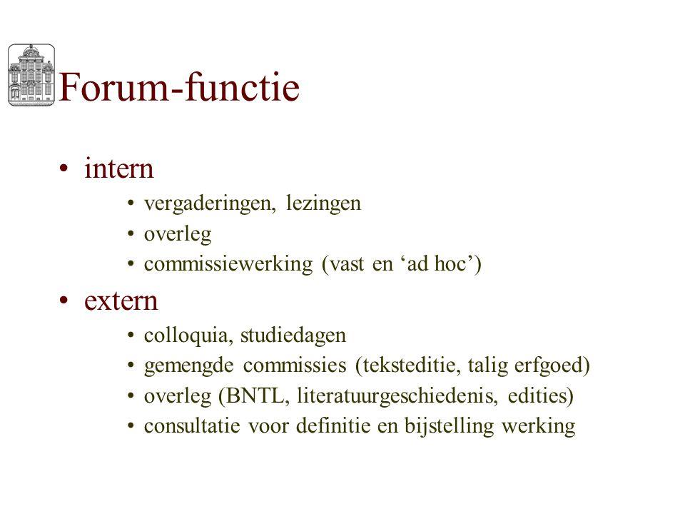 Forum-functie intern vergaderingen, lezingen overleg commissiewerking (vast en 'ad hoc') extern colloquia, studiedagen gemengde commissies (tekstediti