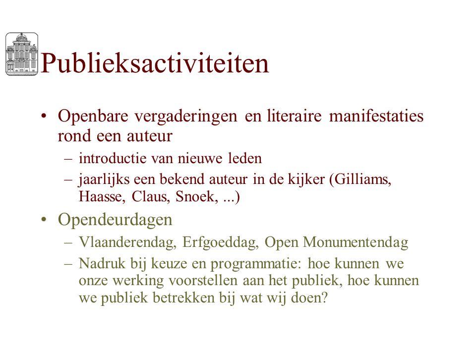 Publieksactiviteiten Openbare vergaderingen en literaire manifestaties rond een auteur –introductie van nieuwe leden –jaarlijks een bekend auteur in d
