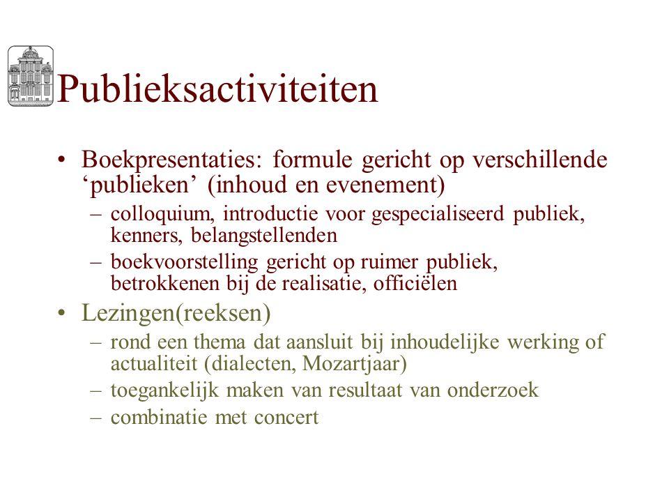 Publieksactiviteiten Boekpresentaties: formule gericht op verschillende 'publieken' (inhoud en evenement) –colloquium, introductie voor gespecialiseer