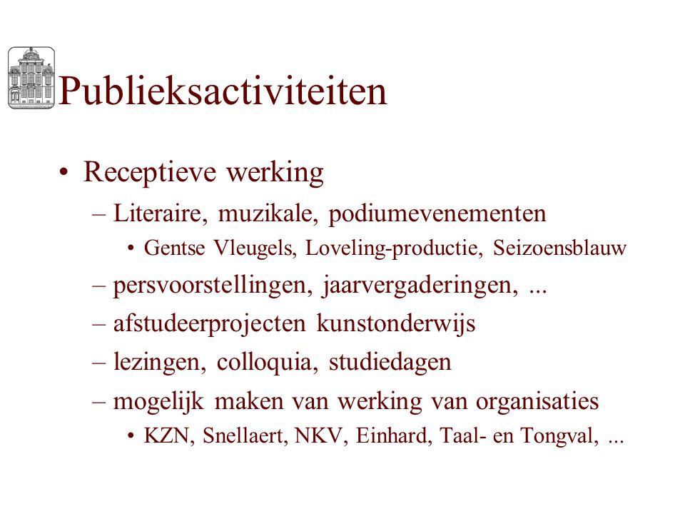 Publieksactiviteiten Receptieve werking –Literaire, muzikale, podiumevenementen Gentse Vleugels, Loveling-productie, Seizoensblauw –persvoorstellingen
