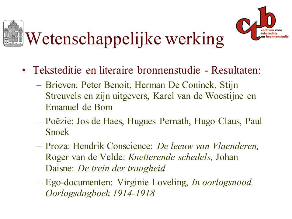 Wetenschappelijke werking Teksteditie en literaire bronnenstudie - Resultaten: –Brieven: Peter Benoit, Herman De Coninck, Stijn Streuvels en zijn uitg