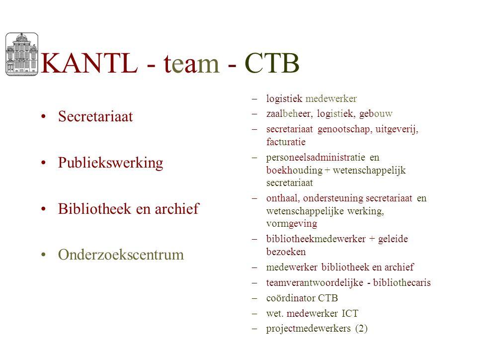 KANTL - team - CTB Secretariaat Publiekswerking Bibliotheek en archief Onderzoekscentrum –logistiek medewerker –zaalbeheer, logistiek, gebouw –secreta
