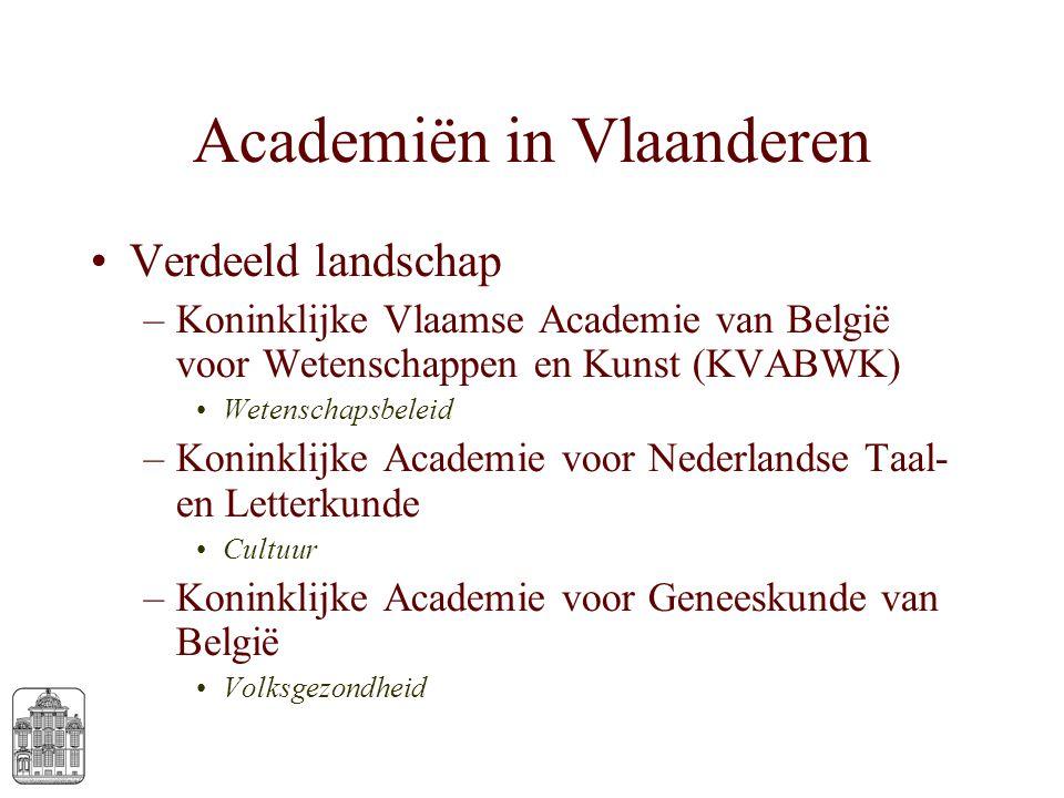 Academiën in Vlaanderen Verdeeld landschap –Koninklijke Vlaamse Academie van België voor Wetenschappen en Kunst (KVABWK) Wetenschapsbeleid –Koninklijk