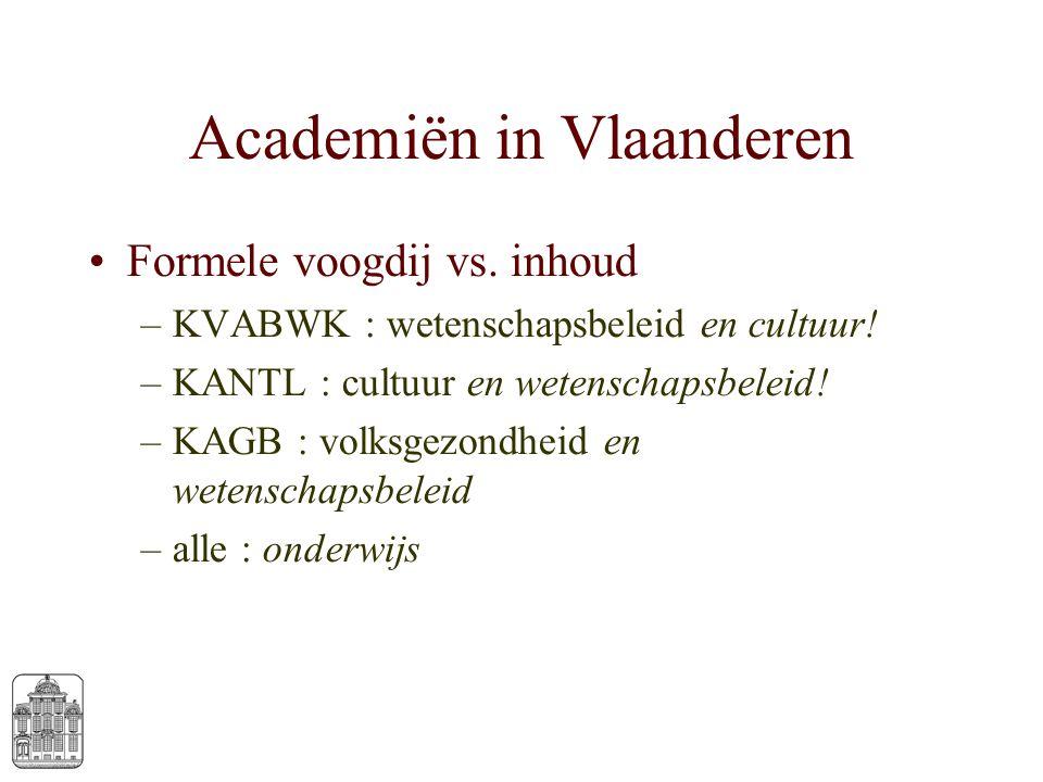Academiën in Vlaanderen Formele voogdij vs. inhoud –KVABWK : wetenschapsbeleid en cultuur! –KANTL : cultuur en wetenschapsbeleid! –KAGB : volksgezondh