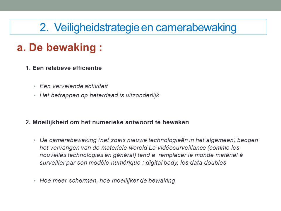 2. Veiligheidstrategie en camerabewaking a. De bewaking : 1.