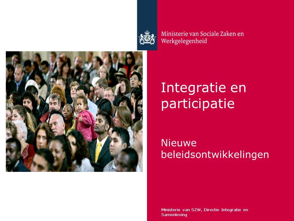 Integratie en participatie Nieuwe beleidsontwikkelingen Ministerie van SZW, Directie Integratie en Samenleving