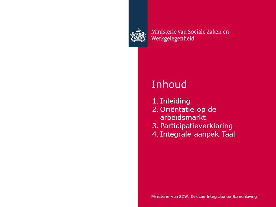 Inhoud 1.Inleiding 2.Oriëntatie op de arbeidsmarkt 3.Participatieverklaring 4.Integrale aanpak Taal