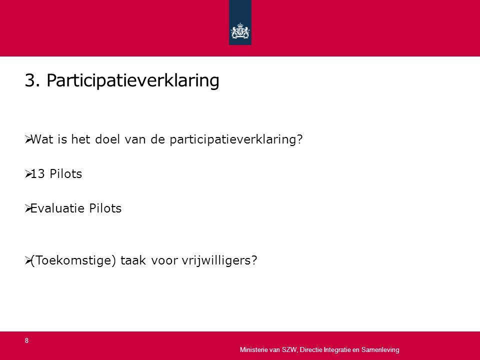 3. Participatieverklaring  Wat is het doel van de participatieverklaring?  13 Pilots  Evaluatie Pilots  (Toekomstige) taak voor vrijwilligers? Min