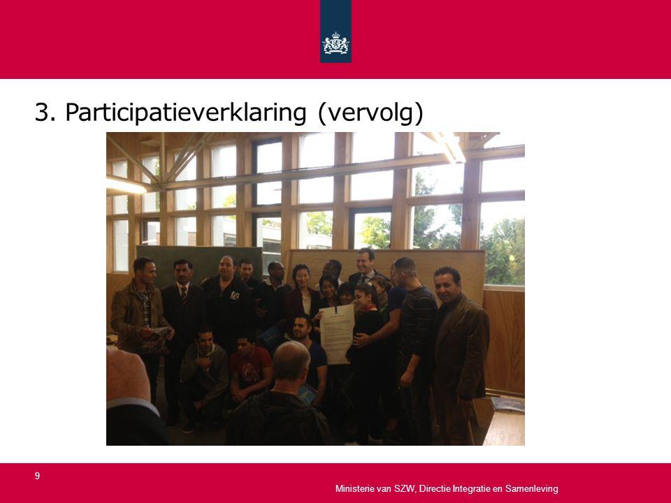3. Participatieverklaring (vervolg) Ministerie van SZW, Directie Integratie en Samenleving 9