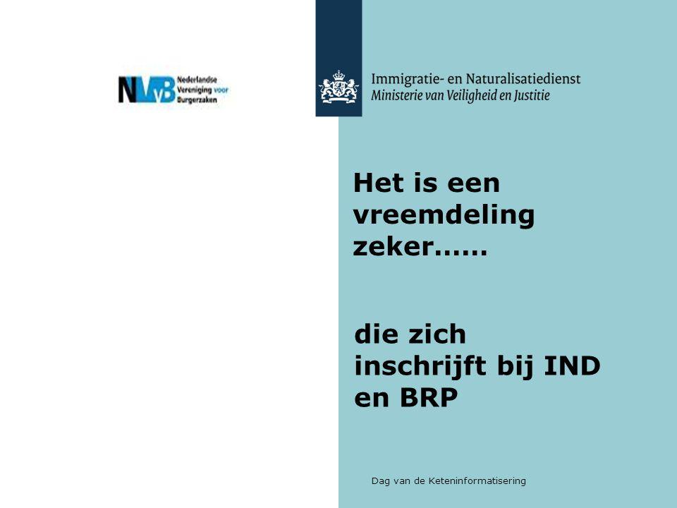 Dag van de Keteninformatisering Het is een vreemdeling zeker…… die zich inschrijft bij IND en BRP