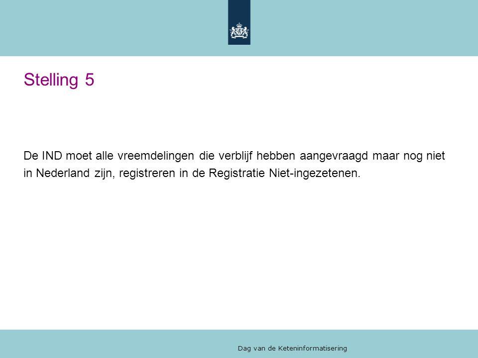 Dag van de Keteninformatisering Stelling 5 De IND moet alle vreemdelingen die verblijf hebben aangevraagd maar nog niet in Nederland zijn, registreren in de Registratie Niet-ingezetenen.