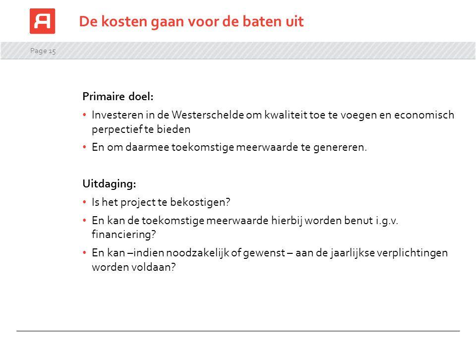 Page 15 Primaire doel: Investeren in de Westerschelde om kwaliteit toe te voegen en economisch perpectief te bieden En om daarmee toekomstige meerwaar