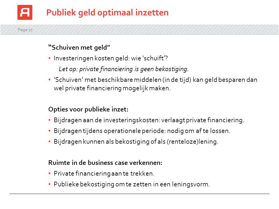 """Page 17 """" Schuiven met geld"""" Investeringen kosten geld: wie 'schuift'? Let op: private financiering is geen bekostiging. 'Schuiven' met beschikbare mi"""
