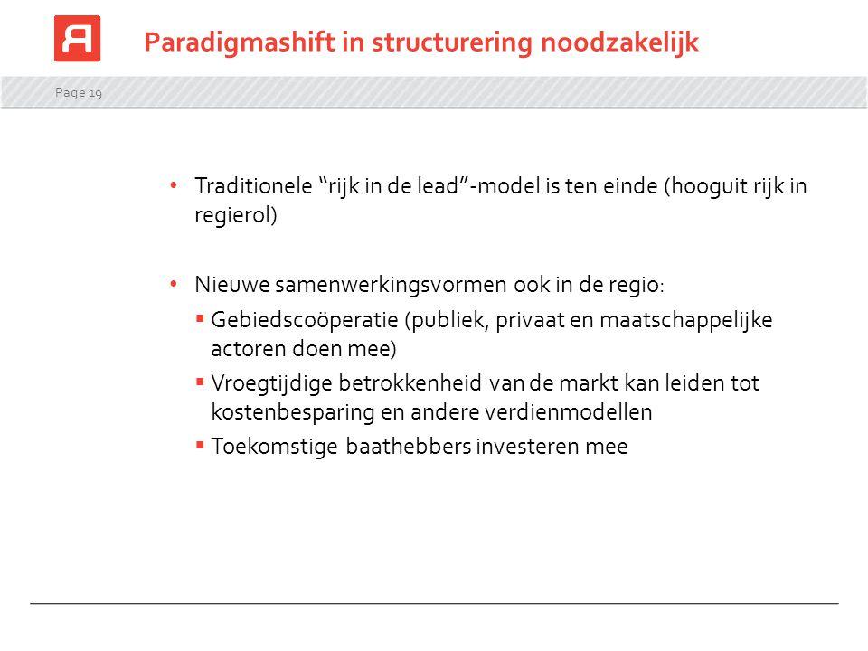 """Page 19 Paradigmashift in structurering noodzakelijk Traditionele """"rijk in de lead""""-model is ten einde (hooguit rijk in regierol) Nieuwe samenwerkings"""