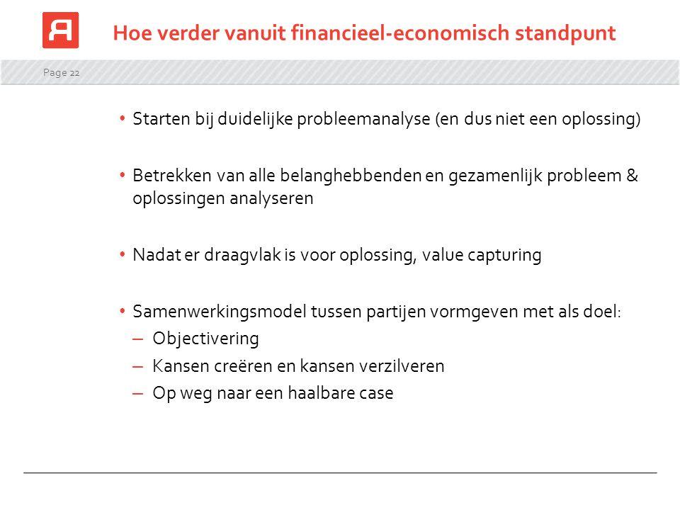 Page 22 Hoe verder vanuit financieel-economisch standpunt Starten bij duidelijke probleemanalyse (en dus niet een oplossing) Betrekken van alle belang