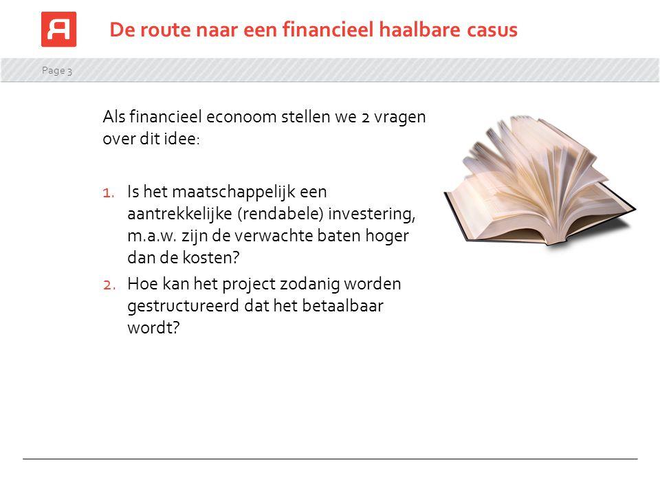Page 3 De route naar een financieel haalbare casus Als financieel econoom stellen we 2 vragen over dit idee: 1.Is het maatschappelijk een aantrekkelij