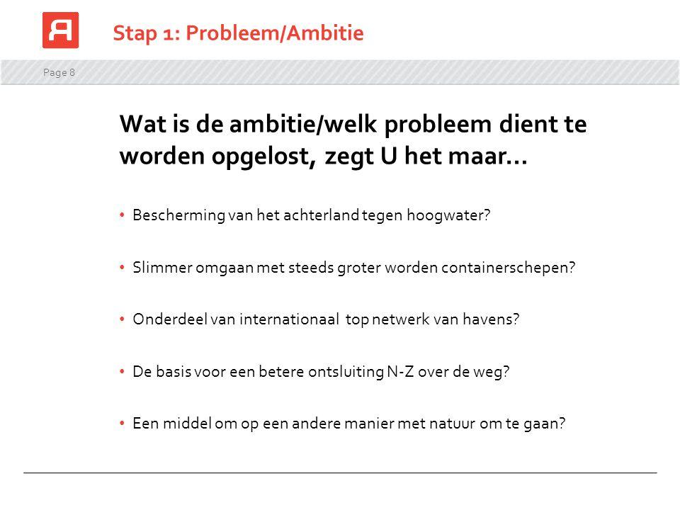 Page 8 Stap 1: Probleem/Ambitie Wat is de ambitie/welk probleem dient te worden opgelost, zegt U het maar… Bescherming van het achterland tegen hoogwa