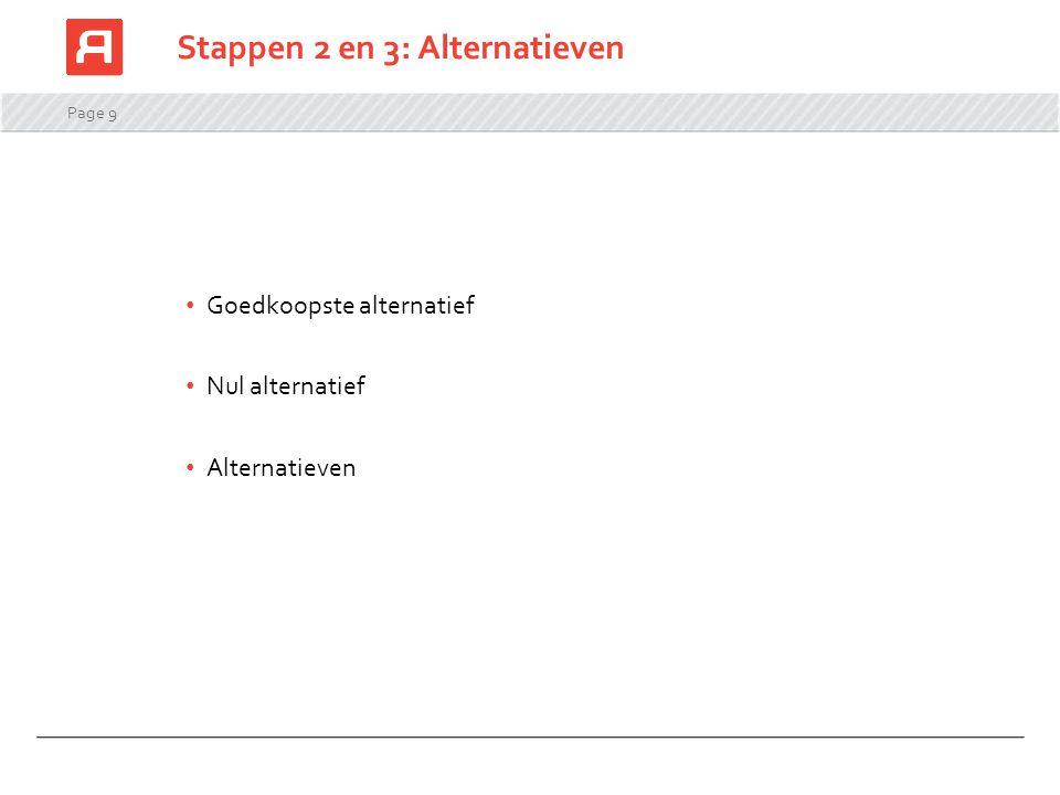 Page 9 Stappen 2 en 3: Alternatieven Goedkoopste alternatief Nul alternatief Alternatieven