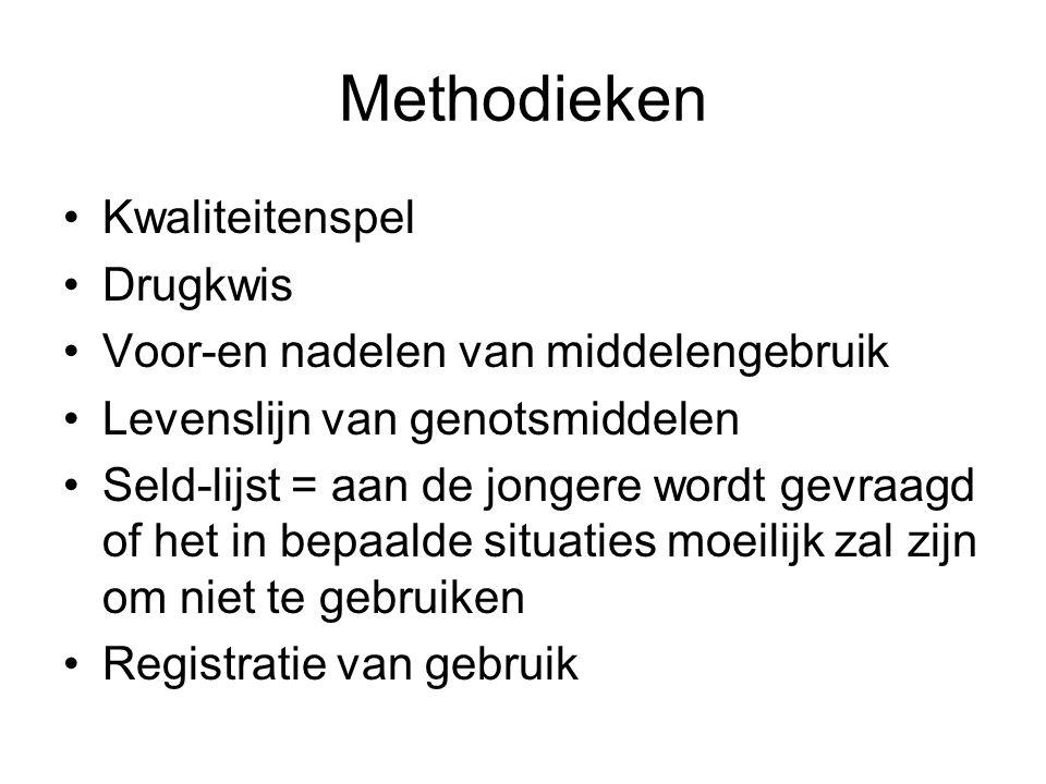Methodieken Kwaliteitenspel Drugkwis Voor-en nadelen van middelengebruik Levenslijn van genotsmiddelen Seld-lijst = aan de jongere wordt gevraagd of het in bepaalde situaties moeilijk zal zijn om niet te gebruiken Registratie van gebruik