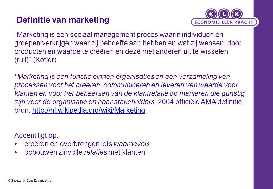 """Definitie van marketing """"Marketing is een sociaal management proces waarin individuen en groepen verkrijgen waar zij behoefte aan hebben en wat zij we"""