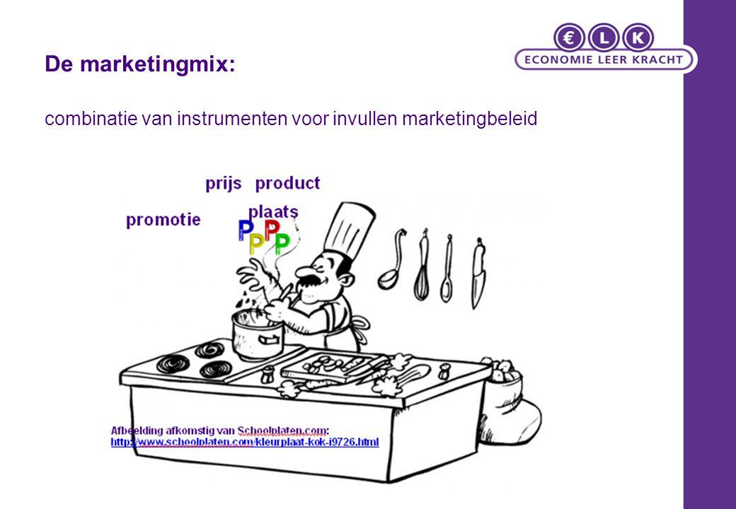 combinatie van instrumenten voor invullen marketingbeleid De marketingmix: