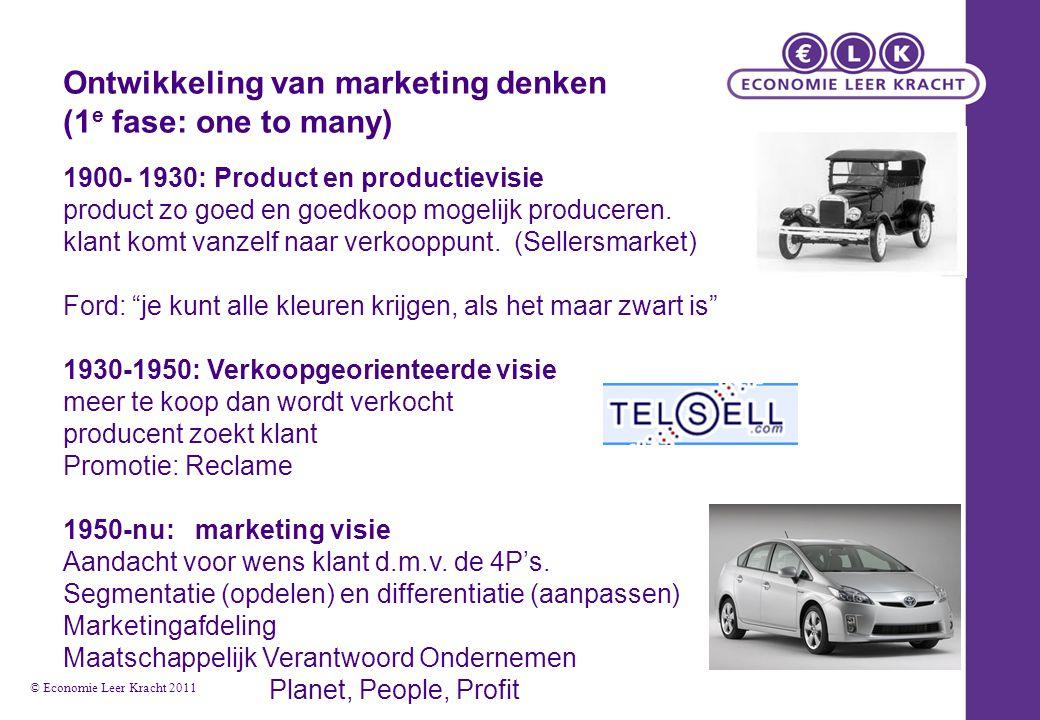 Ontwikkeling van marketing denken (1 e fase: one to many) 1900- 1930: Product en productievisie product zo goed en goedkoop mogelijk produceren. klant