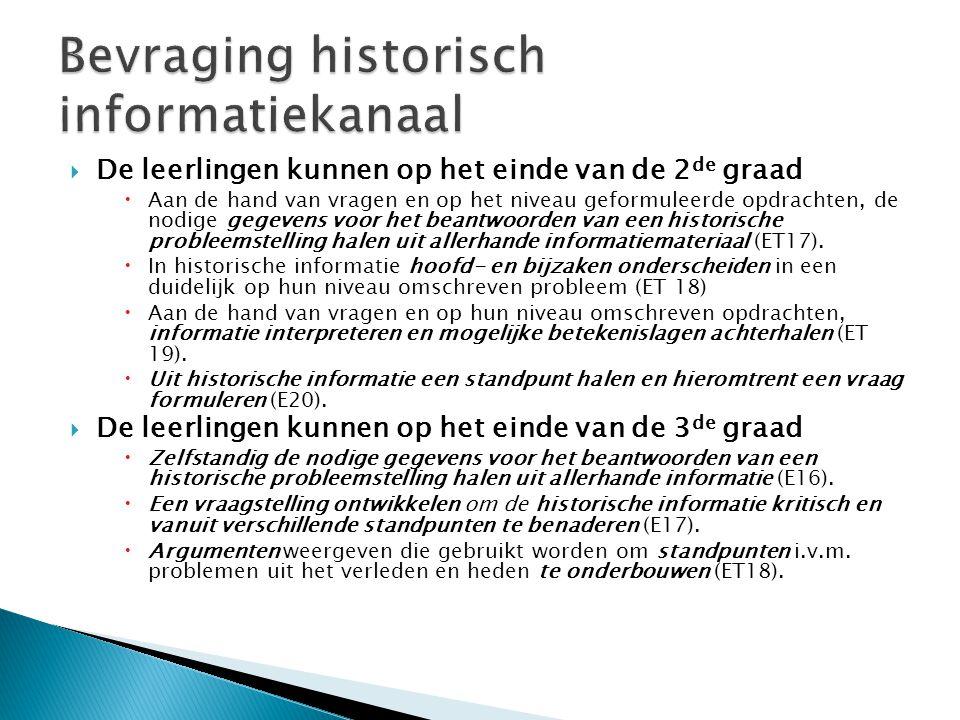  De leerlingen kunnen op het einde van de 2 de graad  Aan de hand van vragen en op het niveau geformuleerde opdrachten, de nodige gegevens voor het beantwoorden van een historische probleemstelling halen uit allerhande informatiemateriaal (ET17).