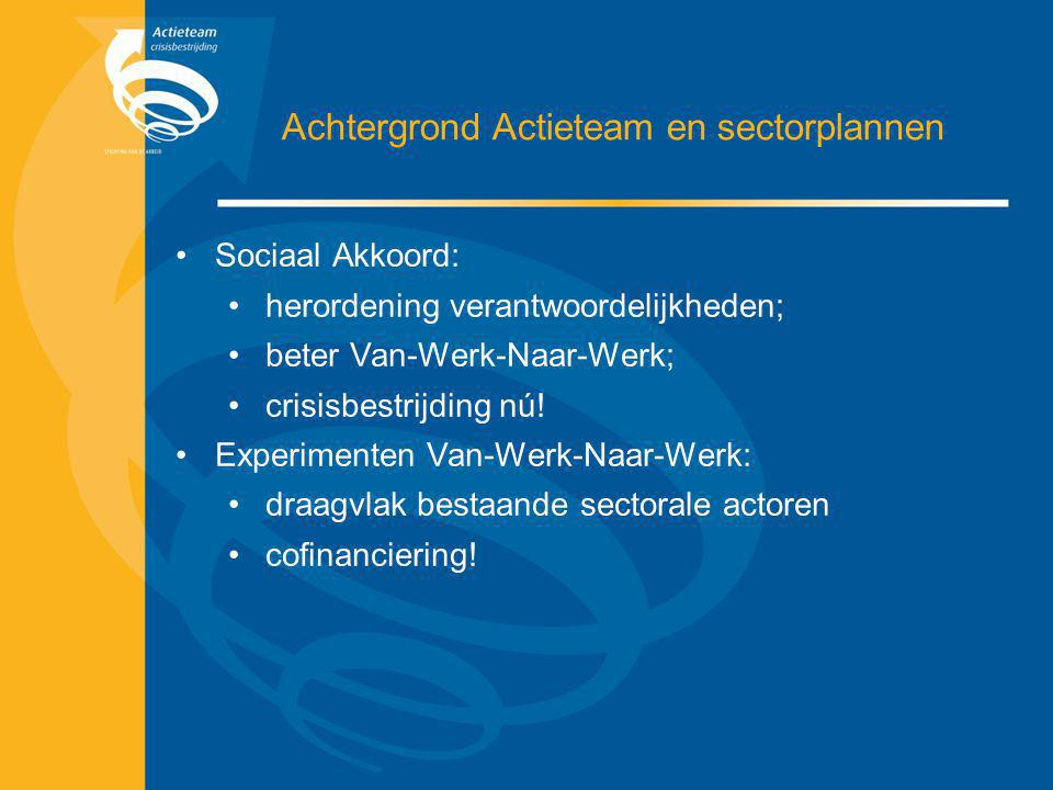 Achtergrond Actieteam en sectorplannen Sociaal Akkoord: herordening verantwoordelijkheden; beter Van-Werk-Naar-Werk; crisisbestrijding nú! Experimente