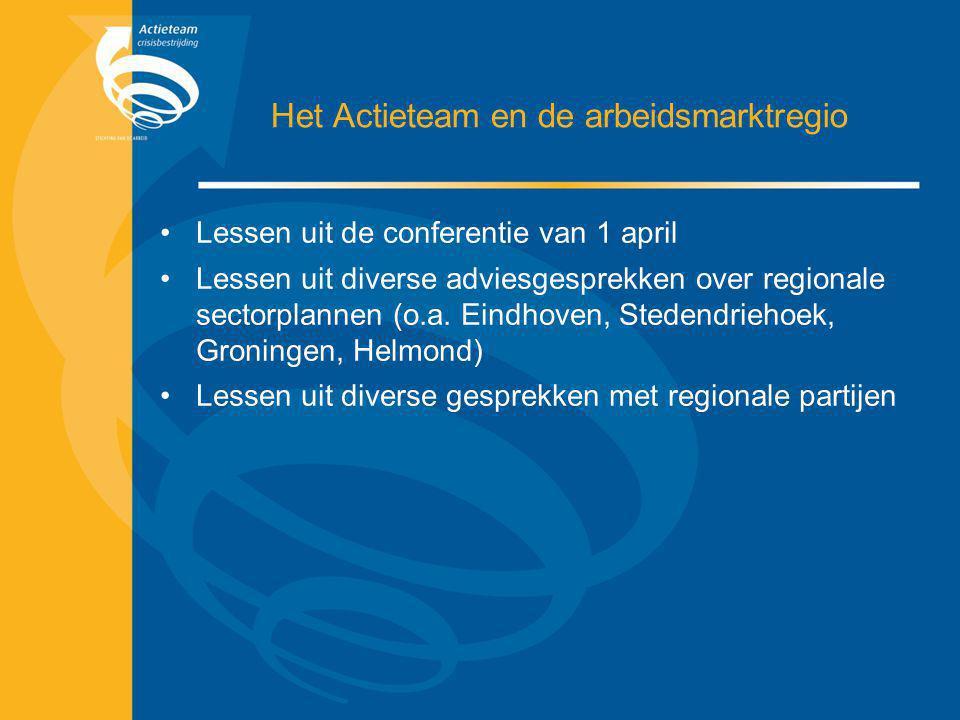 Het Actieteam en de arbeidsmarktregio Lessen uit de conferentie van 1 april Lessen uit diverse adviesgesprekken over regionale sectorplannen (o.a. Ein