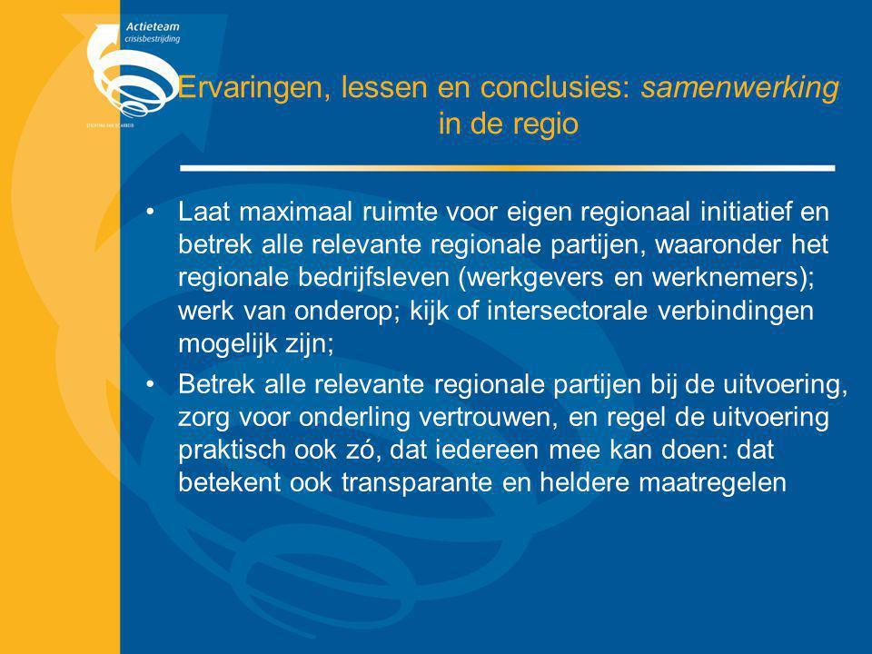 Ervaringen, lessen en conclusies: samenwerking in de regio Laat maximaal ruimte voor eigen regionaal initiatief en betrek alle relevante regionale par