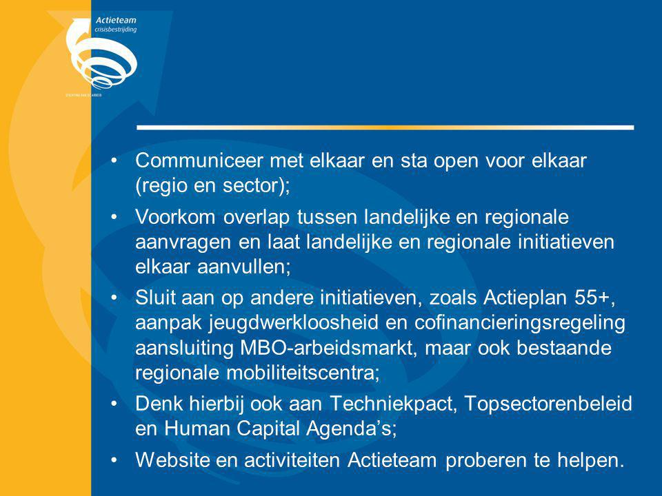 Communiceer met elkaar en sta open voor elkaar (regio en sector); Voorkom overlap tussen landelijke en regionale aanvragen en laat landelijke en regio