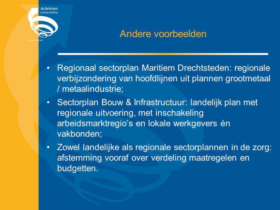Andere voorbeelden Regionaal sectorplan Maritiem Drechtsteden: regionale verbijzondering van hoofdlijnen uit plannen grootmetaal / metaalindustrie; Se