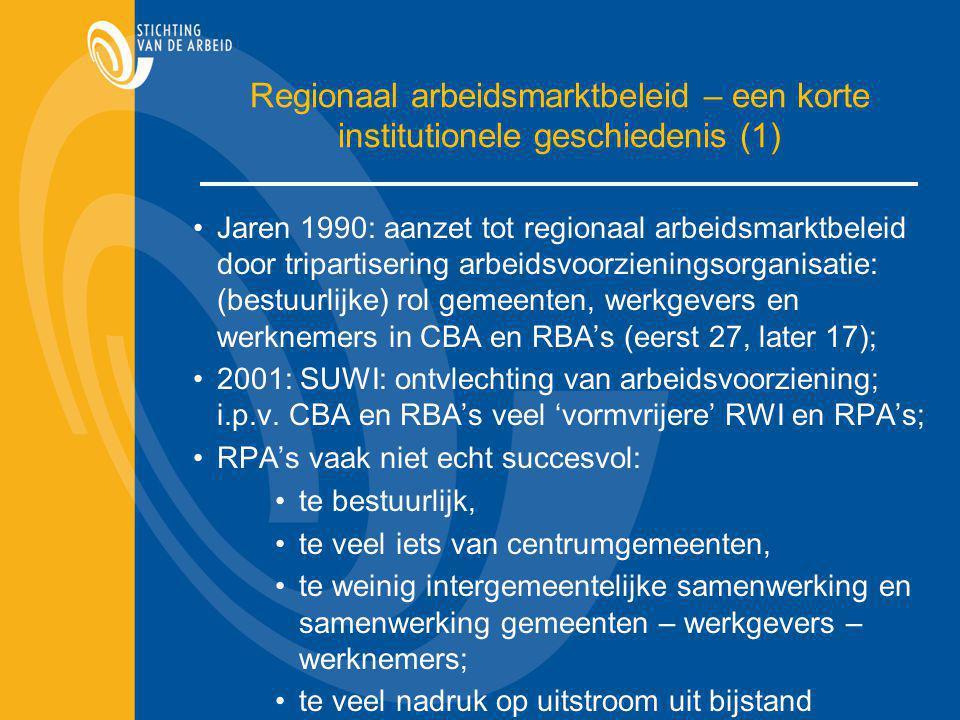 Regionaal arbeidsmarktbeleid – een korte institutionele geschiedenis (1) Jaren 1990: aanzet tot regionaal arbeidsmarktbeleid door tripartisering arbei