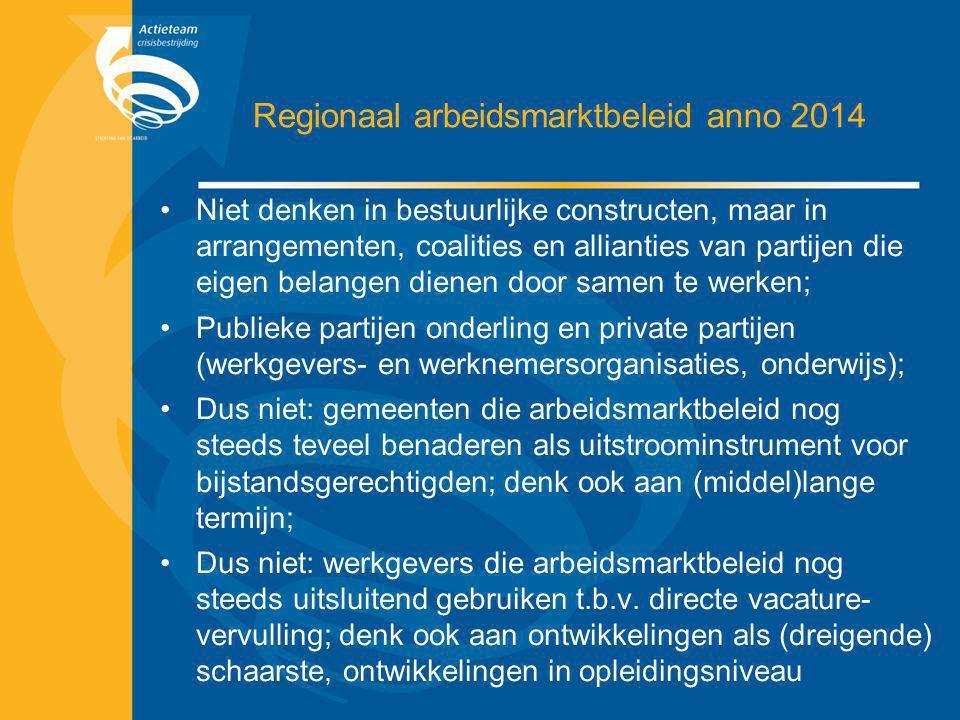 Regionaal arbeidsmarktbeleid anno 2014 Niet denken in bestuurlijke constructen, maar in arrangementen, coalities en allianties van partijen die eigen