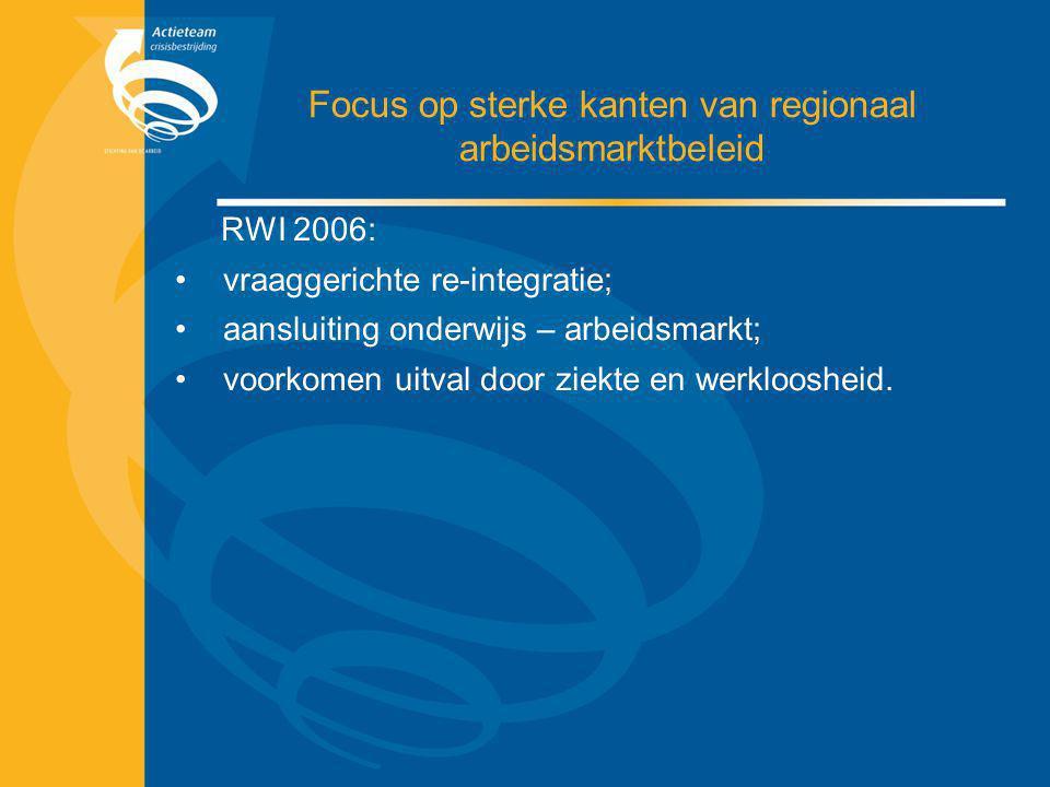 Focus op sterke kanten van regionaal arbeidsmarktbeleid RWI 2006: vraaggerichte re-integratie; aansluiting onderwijs – arbeidsmarkt; voorkomen uitval